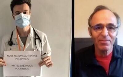 Jean-Jacques Goldman rend hommage aux personnels soignants dans une reprise de sa chanson «Il changeait la vie», en mars 2020. (Capture d'écran Instagram)