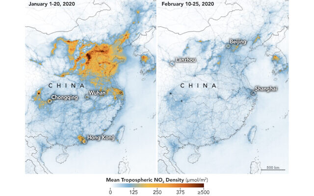 Les images satellites montrent une baisse de la pollution de l'air au-dessus de la Chine centrale et orientale suite à une mise en quarantaine imposée par le gouvernement en raison d'une épidémie de coronavirus. (Crédit : NASA Earth Observatory/Joshua Stevens)