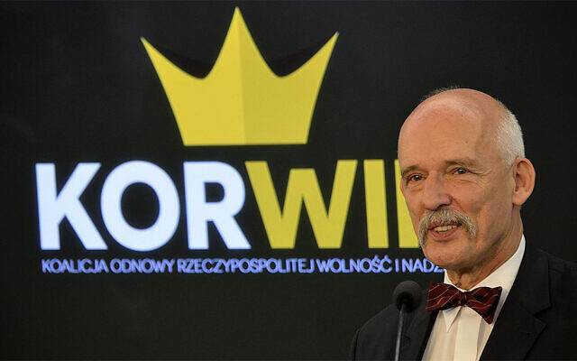 Janusz Korwin-Mikke s'exprime au parlement polonais à Varsovie le 26 juin 2015. (Adrian Grycuk/Wikimedia Commons)