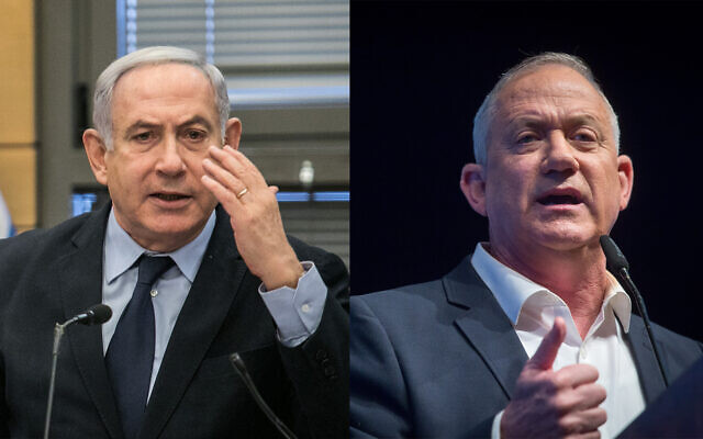 Cette photo composée montre le Premier ministre Benjamin Netanyahu, à gauche, et Benny Gantz, chef du parti Kakhol lavan, à droite. (Flash90)