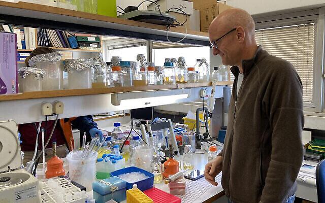Le professeur Isaiah (Shy) Arkin dans son laboratoire à l'Université hébraïque de Jérusalem, le 29 mars 2020 (Equipe du Times of Israel)