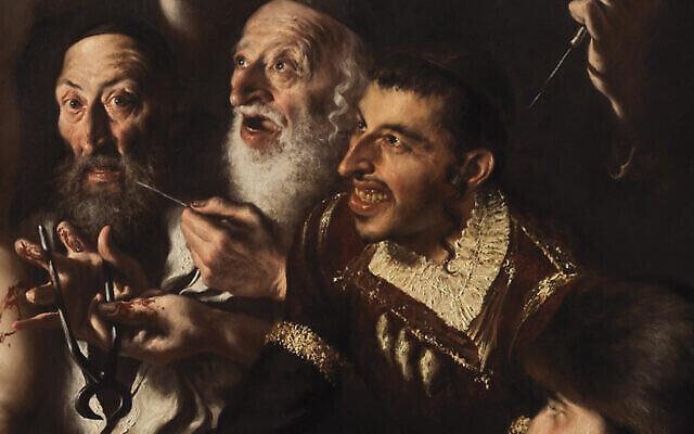 """Une partie du tableau """"Le Martyre de Saint Simon de Trente par meurtre rituel juif"""". (Crédit : Giovanni Gasparro/Facebook via JTA)"""