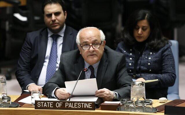 L'ambassadeur palestinien Riyad Mansour s'adresse au Conseil de sécurité des Nations Unies, au siège de l'ONU, le 22 janvier 2019. (AP / Richard Drew)