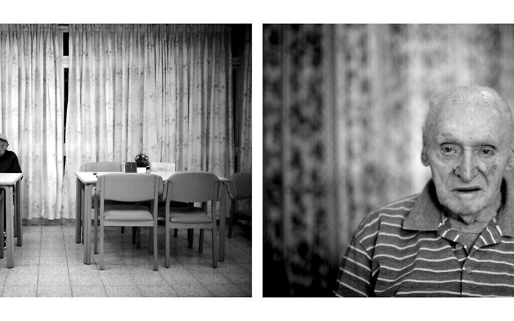 A gauche : Israel Shiner, 82 ans, né en Ukraine, dans la salle à manger de l'auberge, en 2020. A droite : Arieh Bleier, 80 ans, né en Hongrie, dans la salle à manger de l'auberge, en 2010. Bleier a survécu au camp de concentration de Mauthausen en Autriche. Ses parents et son frère ont été assassinés à Auschwitz. (Crédit : Gili Yaari)