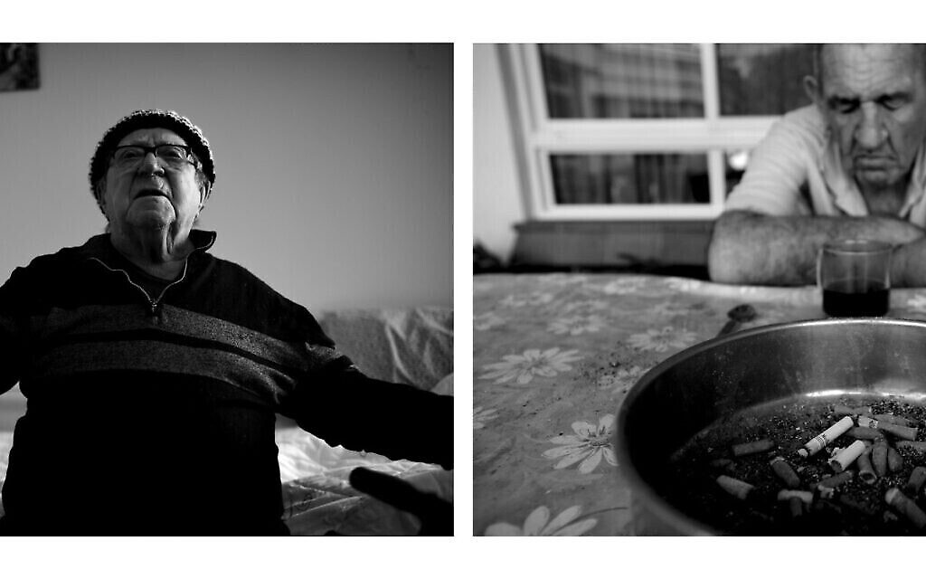 A gauche : Israel Hershko, 94 ans, d'origine roumaine, dans sa chambre, en 2020. A droite : Yakov Assa, survivant de la Shoah né en Bulgarie, alors âgé de 75 ans, dans la cour de l'auberge, en 2010. Il n'avait pas de famille et est décédé il y a quelques années (Crédit  : Gili Yaari)