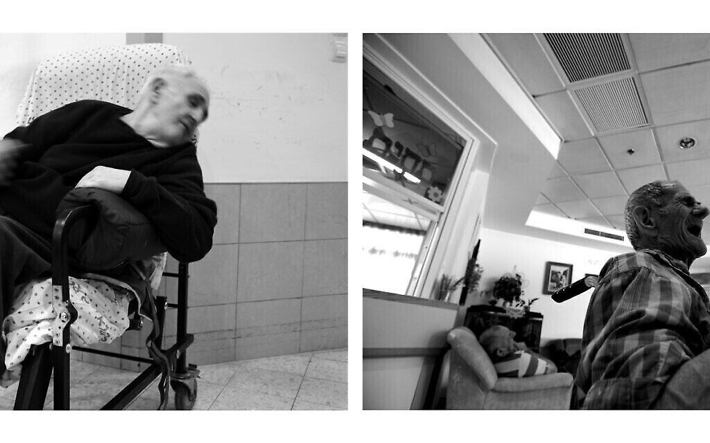 A gauche : Efraim Kruzel, 80 ans, assis à sa place fixe, en 2020. A droite : Meir Moskovich, alors âgé de 82 ans, né en Roumanie, dans le hall de l'auberge, en 2020. Il n'avait pas de famille et est décédé il y a quelques années (Crédit : Gili Yaari)