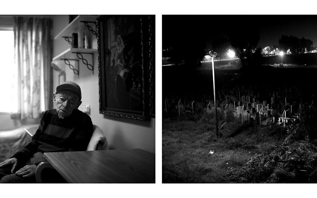 A gauche: Israel Shiner, 82 ans, né en Ukraine, dans sa chambre, en 2020. Shiner a immigré en Israël en 1989 avec son père. A droite : le cimetière de Sha'ar Menashe, derrière l'hôpital, en 2020. (Crédit : Gili Yaari)
