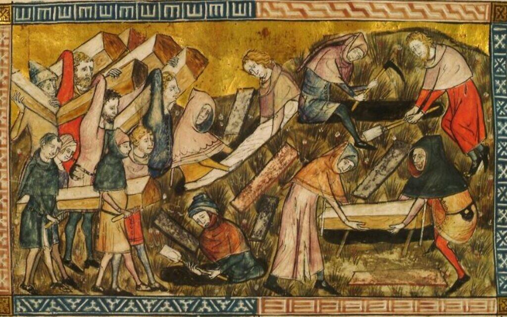 Des citoyens de Tournai enterrent des victimes de la peste noire. Pierart dou Tielt, 1340-1360 (Domaine public)