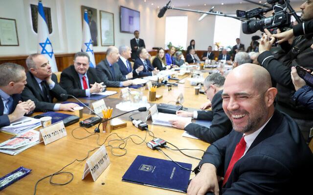 La réunion hebdomadaire du cabinet au bureau du Premier ministre à Jérusalem, le 29 décembre 2019. (Marc Israel Sellem)