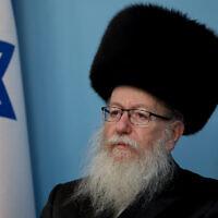 Le ministre de la Santé Yaakov Litzman lors d'une conférence de presse sur le coronavirus au bureau du Premier ministre à Jérusalem, le 11 mars 2020 (Crédit :  Flash90)