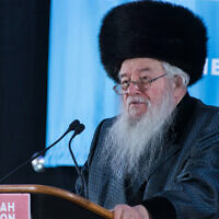 Rabbi Yaakov Perlow lors de la convention d'Agudath Israel of America en 2019 à  Stamford, dans le Connecticut (Autorisation/Agudath Israel via JTA)