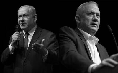 La photo composite montre le Premier ministre Benjamin Netanyahu, (à gauche), et le chef du parti Kakhol lavan, Benny Gantz, (à droite). (Flash90)