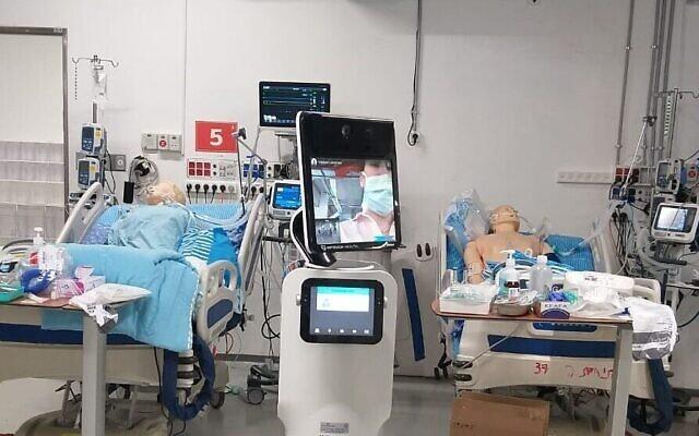 Des lits dans une nouvelle unité de soins intensifs du coronavirus à l'hôpital Sheba. (Autorisation)