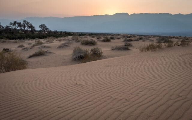 Photo illustrative de dunes de sable dans la région d'Arava du sud d'Israël, à proximité de la ville d'Eilat sur la Mer Rouge, le 30 août 2019. (Mila Aviv / Flash90)