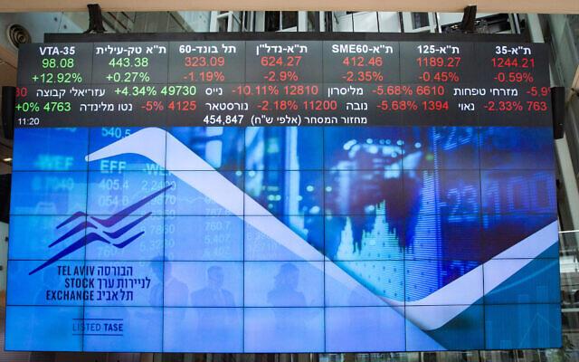 Un écran de contrôle de la bourse dans l'entrée de la Bourse de Tel Aviv, le 15 mars 2020. (Flash90)