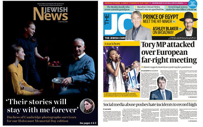 Le couverture du Jewish News (gauche) et du Jewish Chronicle. (Jewish News)