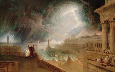 """La septième plaie : John Martin, 1823, inspiré de l'Ancien Testament """"plaie de grêle et de feu"""", Exode 9:13-35. (Domaine public)"""