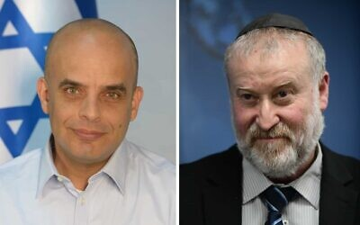 Le procureur-général Avichai Mandelblit (à droite) et le procureur de l'Etat intérimaire Dan Eldad (Crédit : Ministère de la Justice / Flash90)