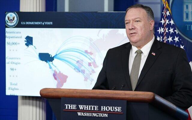Le secrétaire d'État américain Mike Pompeo s'exprime lors d'un point de presse le 8 avril 2020 dans la salle de presse Brady à la Maison Blanche, à Washington, DC. (Mandel Ngan/AFP)