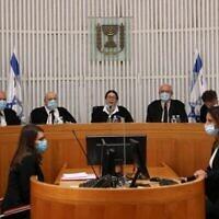 Une audience de la Haute Cour de justice à la Cour suprême de Jérusalem, le 4 mai 2020. (Abir Sultan/Pool/AFP)