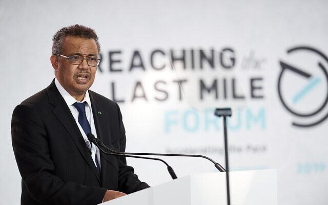 Le Directeur général de l'Organisation mondiale de la santé (OMS) Tedros Adhanom Ghebreyesus au Louvre d'Abu Dhabi, le 19 novembre 2019. (Crédit : Jonathan Gibbons/Reaching the Last Mile Forum via AP Images)