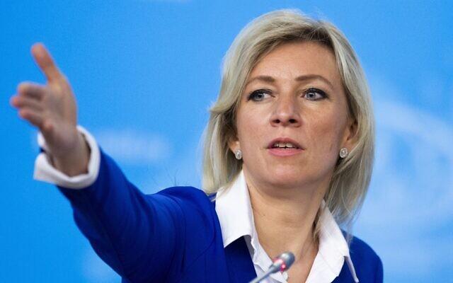 La porte-parole russe du ministère des Affaires étrangères Maria Zakharova à Moscou, en Russie, le vendredi 17 janvier 2020 (Crédit : AP Photo/Alexander Zemlianichenko)