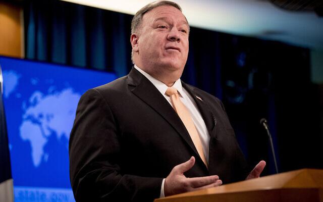 Le secrétaire d'État américain Mike Pompeo s'exprime lors d'une conférence de presse, le 31 mars 2020, à Washington. (AP Photo/Andrew Harnik, Pool)