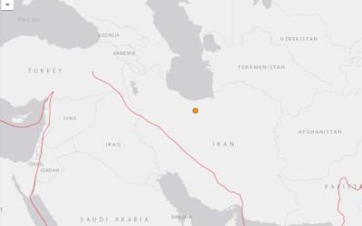 Capture d'écran du site américain officiel earthquake.usgs.gov montrant où a eu lieu le séisme en Iran ce vendredi 8 mai 2020.