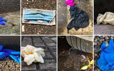 Des masques et des gants en plastique, utilisés pour se protéger du nouveau coronavirus puis jetés sans état d'âme dans les rues du Moyen Orient (Crédit : capture d'écran Facebook Omar Frangieh)