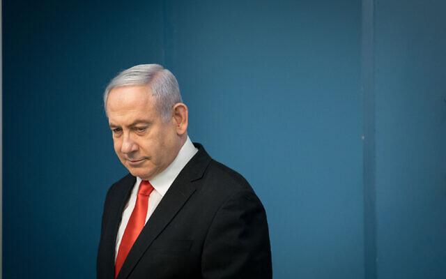 Le Premier ministre Benjamin Netanyahu tient une conférence de presse au bureau du Premier ministre à Jérusalem, le 16 mars 2020. (Crédit : Yonatan Sindel / Flash90)