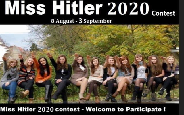 Publicité pour le concours 'Miss Hitler 2020' (Crédit : Anti-Defamation Commission)