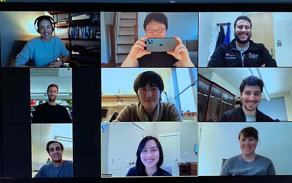Photo sur Zoom de l'équipe STOPCovid team. Omar Abudayyeh est en haut à droite et Jonathan Gootenberg au centre droit.  Julia Joung est en bas, au centre, et Alim Ladha est en bas à gauche (Crédit :Feng Zhang, Broad Institute of MIT and Harvard/McGovern Institute for Brain Research at MIT)