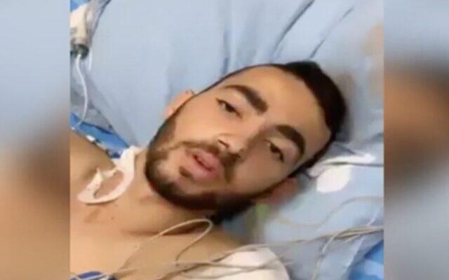 Shadi Ibrahim, soldat d'une unité de blindés qui a perdu sa jambe en Cisjordanie lors d'un attentat, dans une vidéo filmée depuis son lit d'hôpital au centre médical Soroka à Beer Sheva, le 22 mai 2020 (Capture d'écran : Treizième chaîne)