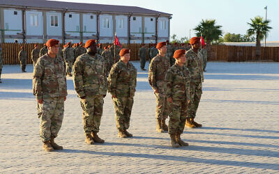 La Force multionationale & Observateurs en formation durant une cérémonie dans le Sinai, le 15 juillet 2019. (Crédit : US Army/Staff Sgt. Kulani J. Lakanaria)