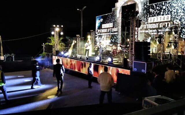 La célébration de Lag BaOmer organisée par les rabbins sépharades Haredi au mont Meron, en Israël, le 11 mai 2020. (Nathan Jeffay/Times of Israel)