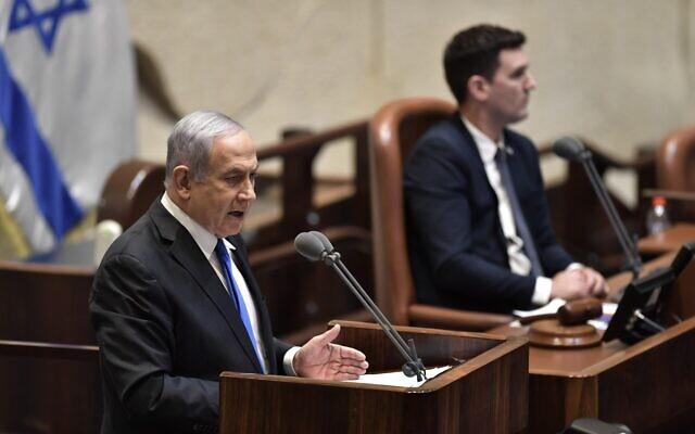 Le Premier ministre Benjamin Netanyahu présentant le 35e gouvernement d'Israël à la Knesset, le 17 mai 2020. (Knesset/Kobi Gideon)