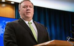 Le secrétaire d'Etat Mike Pompeo s'exprime lors d'une conférence de presse au Département d'Etat, le mercredi 20 mai 2020 à Washington.(Crédit : Nicholas Kamm/Pool Photo via AP)