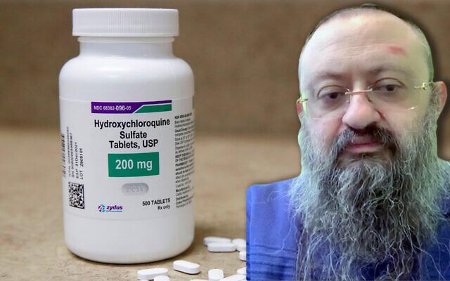 Dr. Vladimir Zelenko a vanté l'hydroxychloroquine comme traitement du COVID-19. (Getty Images et capture d'écran d'une vidéo Whatsapp via JTA)