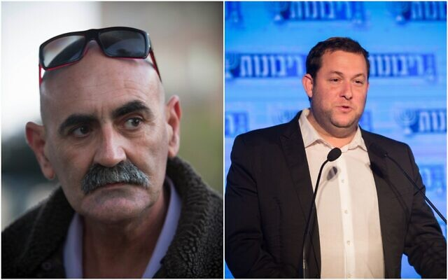Le président du Conseil de Yesha David Elhayani (gauche) et le président du Conseil régional de Samarie Yossi Dagan. (Flash90)