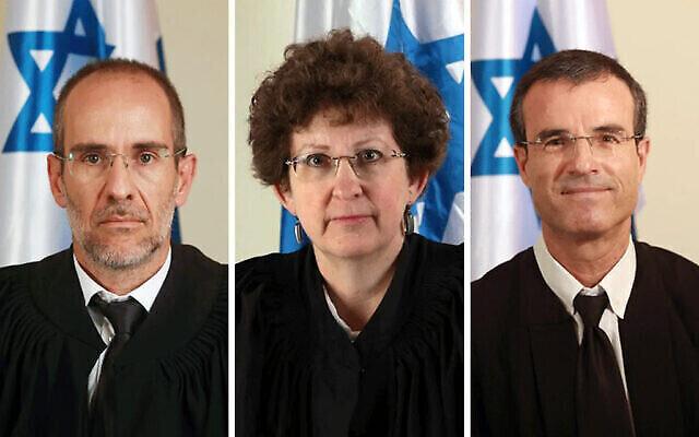 Les juges Moshe Bar-Am, Rebecca Friedman-Feldman et Oded Shaham, de gauche à droite. (Ministère de la Justice)