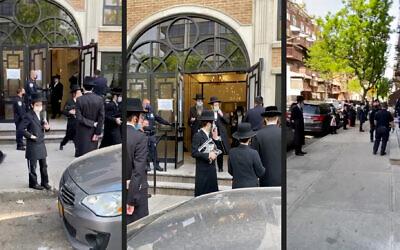 La police disperse une foule dans une synagogue à Brooklyn, New York, le 20 mai 2020. (Captures d'écran d'une vidéo WhatsApp)