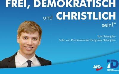 Un graohique réalisé par un politicien allemand d'extrême-droite reprenant un tweet et une photo de Yair Netanyahu. (Crédit :Twitter)