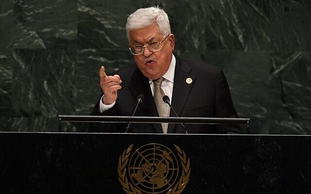 Le président de l'Autorité palestinienne Mahmoud Abbas s'exprime lors de la 74e session de l'Assemblée générale au siège des Nations unies à New York, le 26 septembre 2019. (Timothy A. Clark/AFP)
