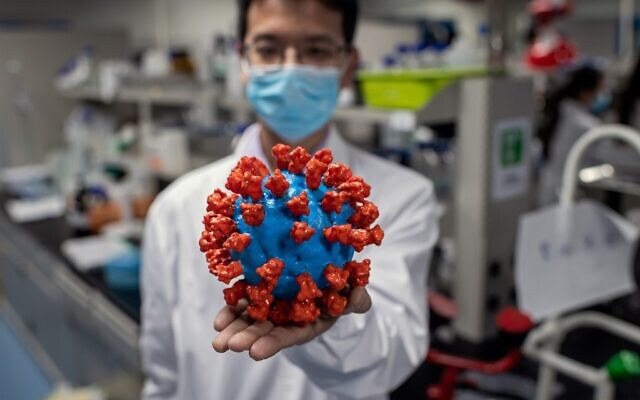 Cette photo prise le 29 avril 2020 montre un ingénieur tenant une maquette plastique du coronavirus COVID-19 au laboratoire de contrôle de la qualité des installations de Sinovac Biotech à Pékin. (Photo de NICOLAS ASFOURI / AFP)