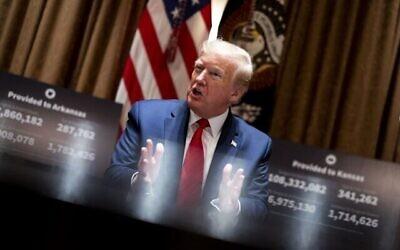 Le président américain Donald Trump s'exprimant dans le Cabinet Room de la Maison Blanche, le 20 mai 2020 à Washington, DC. (Doug Mills-Pool/Getty Images/AFP)