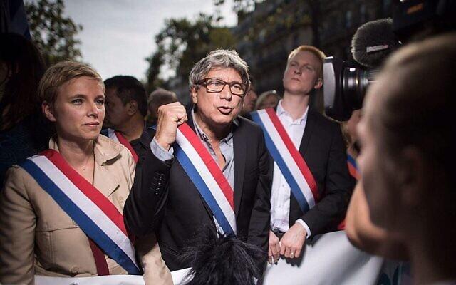 Éric Coquerel,Clémentine AutainetAdrien Quatennensà la marche du 21 septembre 2017 contre laréforme du code du travail. (Crédit : Drutchy2017 / CC BY-SA 4.0)