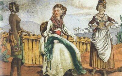 Madame Ailhaud, d'origine bordelaise, dans sa propriété de la Guadeloupe vers 1760. Elle sera tuée par des esclaves insurgés en 1793. (Crédit : Dépôt du Musée des Arts décoratifs de Bordeaux / Domaine public)