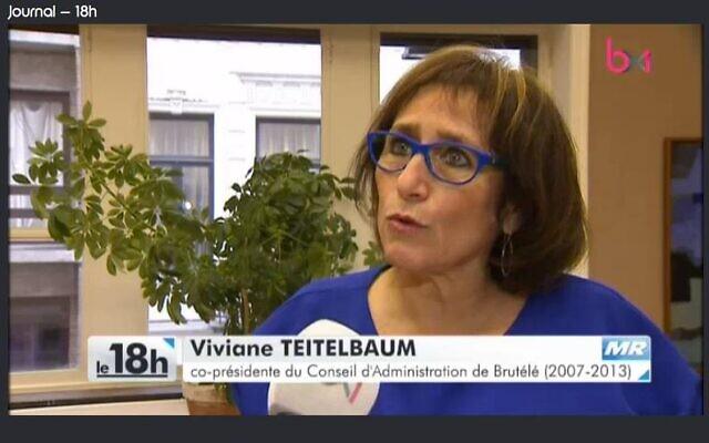 La députée bruxelloise Viviane Teitelbaum en 2017, interviewée par la chaine BX1. (Crédit : Facebook / capture d'écran BX1)