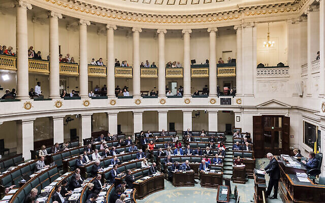 Des membres du Parlement fédéral belge assistent à une session plénière, le 26 octobre 2017. (Crédit : AP / Geert Vanden Wijngaert)