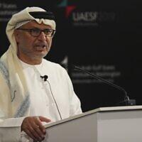 Anwar Gargash, le ministre d'État émirati aux Affaires étrangères, lors du Forum sur la sécurité des EAU à Abu Dhabi, Émirats arabes unis, le 12 décembre 2019. (AP Photo/Kamran Jebreili)